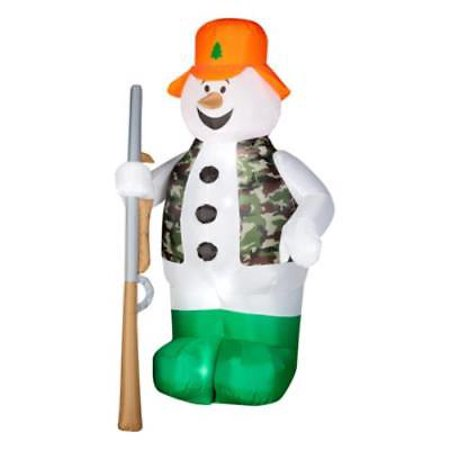 Air Blown Hunting Snowman Inflatable Yard Decoration Lights Up and - Blow Up Christmas