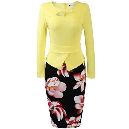 Women 3/4 Sleeve Patchwork Pencil Dress Peplum Print Package Hip OL Party Dress HFON