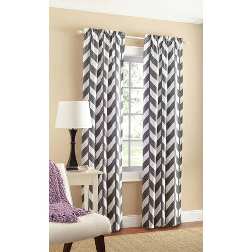 Great Mainstays Chevron Polyester/Cotton Curtain With BONUS Panel Available In  Multiple Colors And Sizes   Walmart.com
