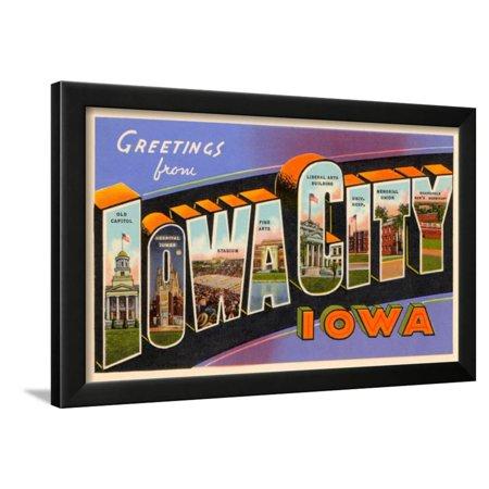 Greetings from Iowa City, Iowa Framed Print Wall - Party City Iowa City
