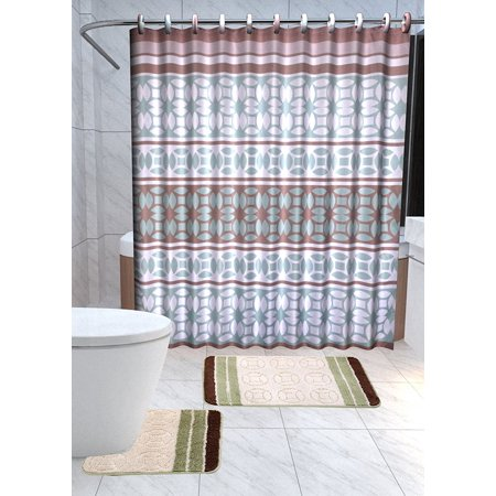 Laurel 15 Piece Royalty Bathroom Accessories Set Rugs Shower Curtain Matching Rings Brown Green