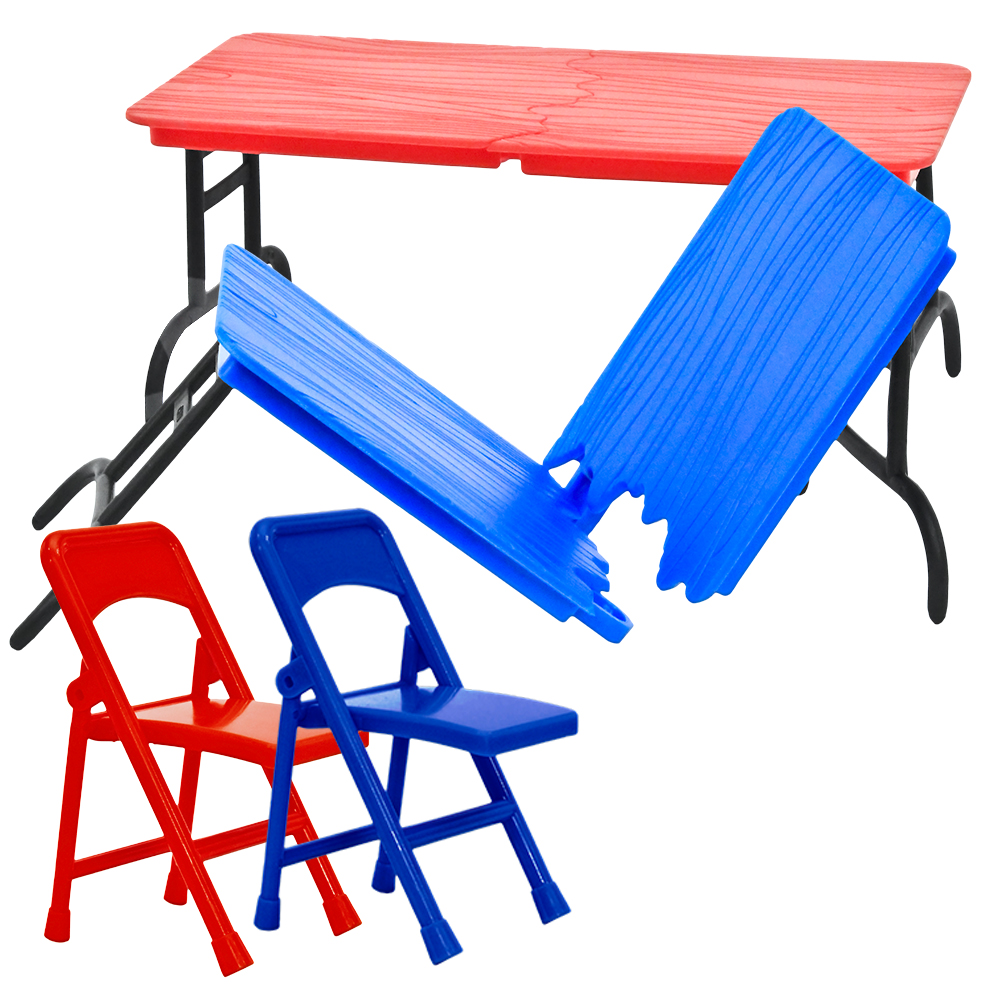 Special Deal: Red & Blue Breakable Plastic Toy Tables & Chairs For WWE Wrestling Action... by