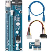 Xinxinyy PCI-E Riser Board 4-pin PCI-E 1x to 16x Adapter Card Graphic Card GPU Extender Board with USB Cable
