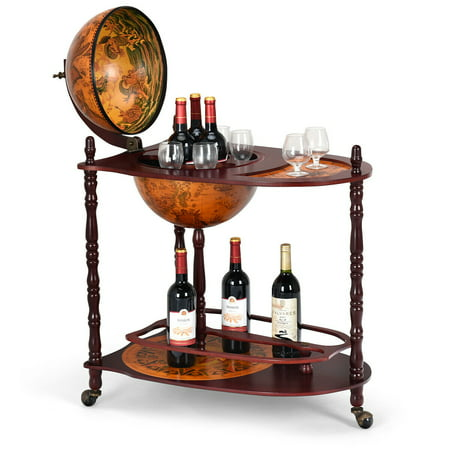 - Costway Wood Globe Wine Bar Stand 34'' H 16th Century Italian Rack Liquor Bottle Shelf