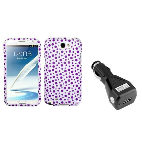Insten Purple Polka Dots Hard Case+DC Car Charger Adapter For Samsung Galaxy Note 2 II