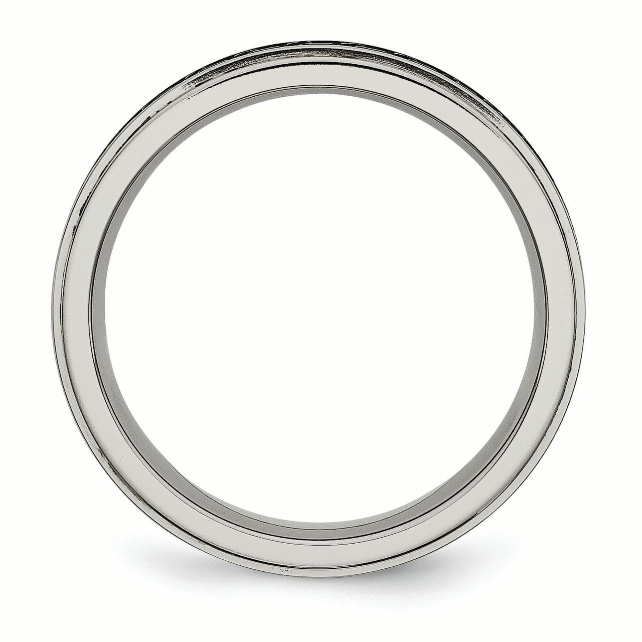 Engagement & Wedding Jewelry & Watches Titanium Ridged Edge Black Enamel Braid Design 6mm Wedding Ring Band Size 11.00