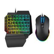 One Handed Keyboard and Mouse Combo 39 Keys Gaming Board with Mouse LED Rainbow Backlight Half Keyboard with Mouse