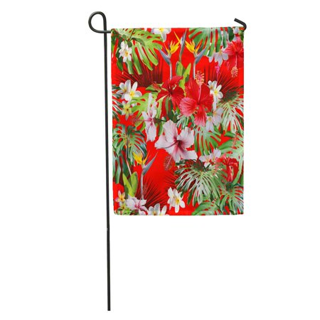 NUDECOR Amazing Tropical Hawaiian and Floral Pattern on Red Blossom Hibiscus Garden Flag Decorative Flag House Banner 28x40 inch - image 1 of 2