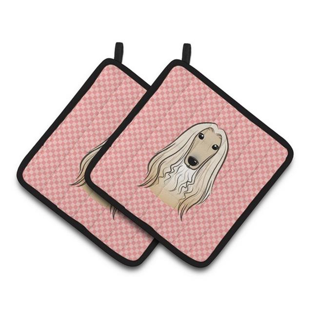 Carolines Treasures BB1244PTHD Checkerboard Pink Afghan Hound Pair of Pot Holders, 7.5 x 3 x 7.5 in. - image 1 of 1