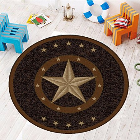 Texas Western Star Rustic Cowboy Decor Brown Black Area Rug 6'6