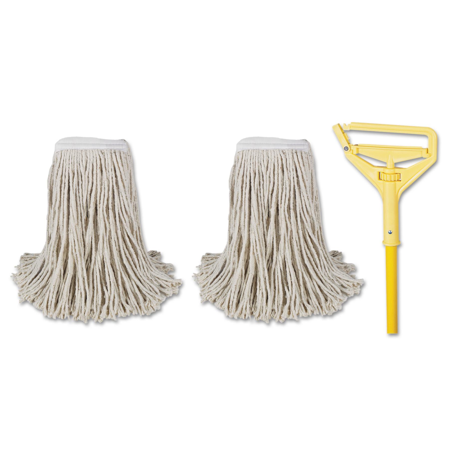 "Boardwalk Cut-End Mop Kits, #24, Natural, 60"" Metal/Plastic Handle, Yellow -BWK5324C"