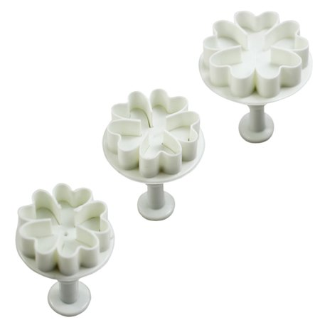 3PCS Heart Flower Cake Fondant Cookie Cutter Decorating Craft Paste Plunger Mold Cake Decorating Mold for DIY Baking