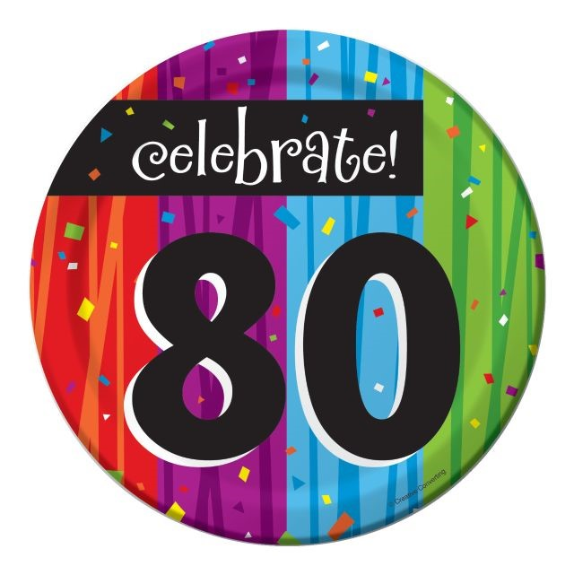 "Party Creations Milestone Celebrations 80th Birthday Lunch Plate, 7"", 8 Ct"