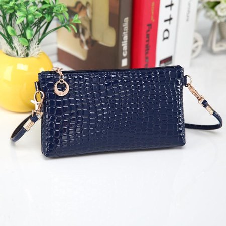 Women Crocodile Leather Messenger Crossbody Clutch Shoulder Handbag -