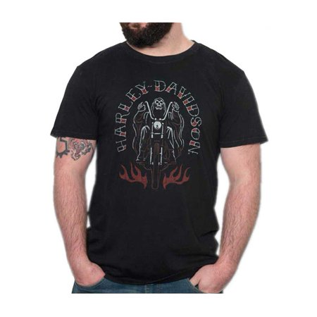 Harley T Shirts (Harley-Davidson Men's Grim Rider Premium Short Sleeve T-Shirt, Black Marble, Harley)