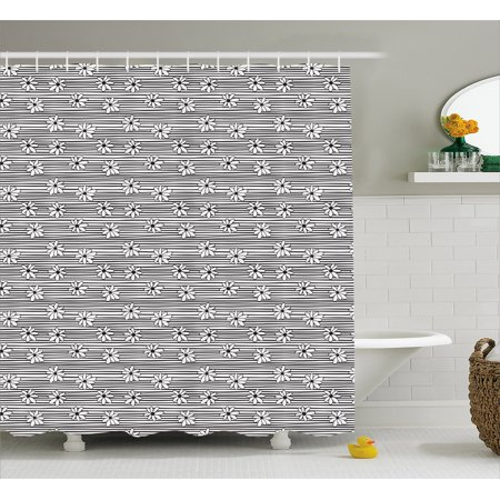 Black and White Shower Curtain, Horizontal Lines Pattern with Monochrome  Flowers Doodle Style Composition, Fabric Bathroom Set with Hooks, 69W X 84L