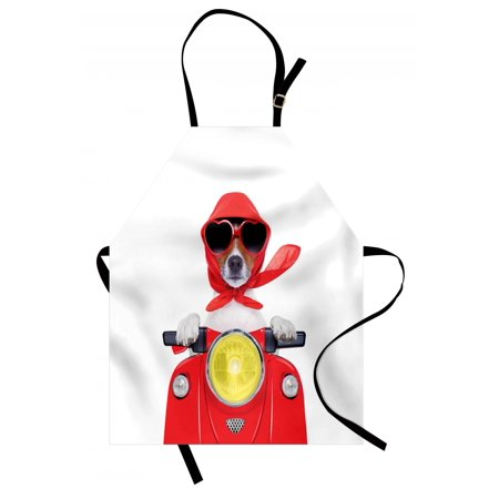 Dog Driver Apron Stylish Canine with Scarf Sunglasses Fashion Model Riding Scooter Funny Animal, Unisex Kitchen Bib Apron with Adjustable Neck for Cooking Baking Gardening, Multicolor, by