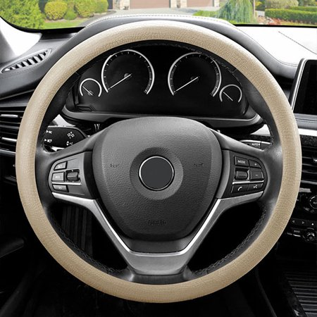 FH Group Universal Fit Odorless Snake Pattern Silicone Steering Wheel Cover, - Beige Snake