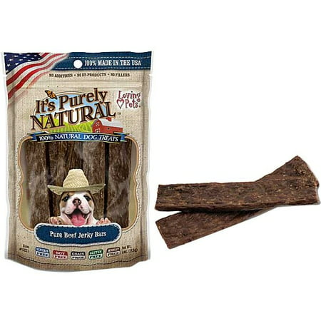 Loving Pets It's Purely Natural Pure Beef Jerky Bars Dog Treats, 4 Ounces