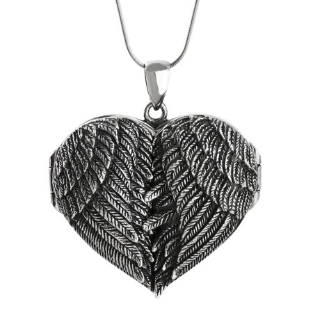 """Sterling Silver Large Angel Wings Locket Necklace, 18"""" Snake Chain"""