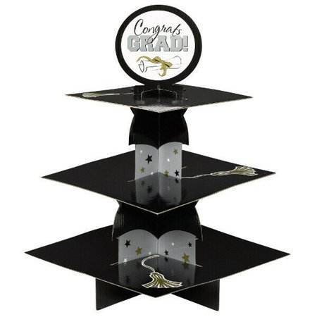 GRADUATION TREAT STAND Party Decorations Gold Silver Black Grad Congrats CUPCAKE