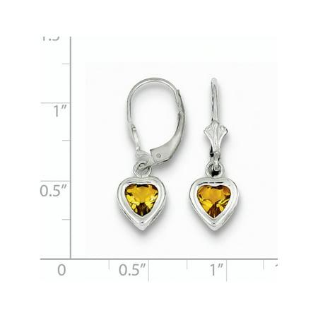 925 Sterling Silver Rhodium 6mm Heart Citrine Leverback (7x25mm) Earrings - image 1 de 2