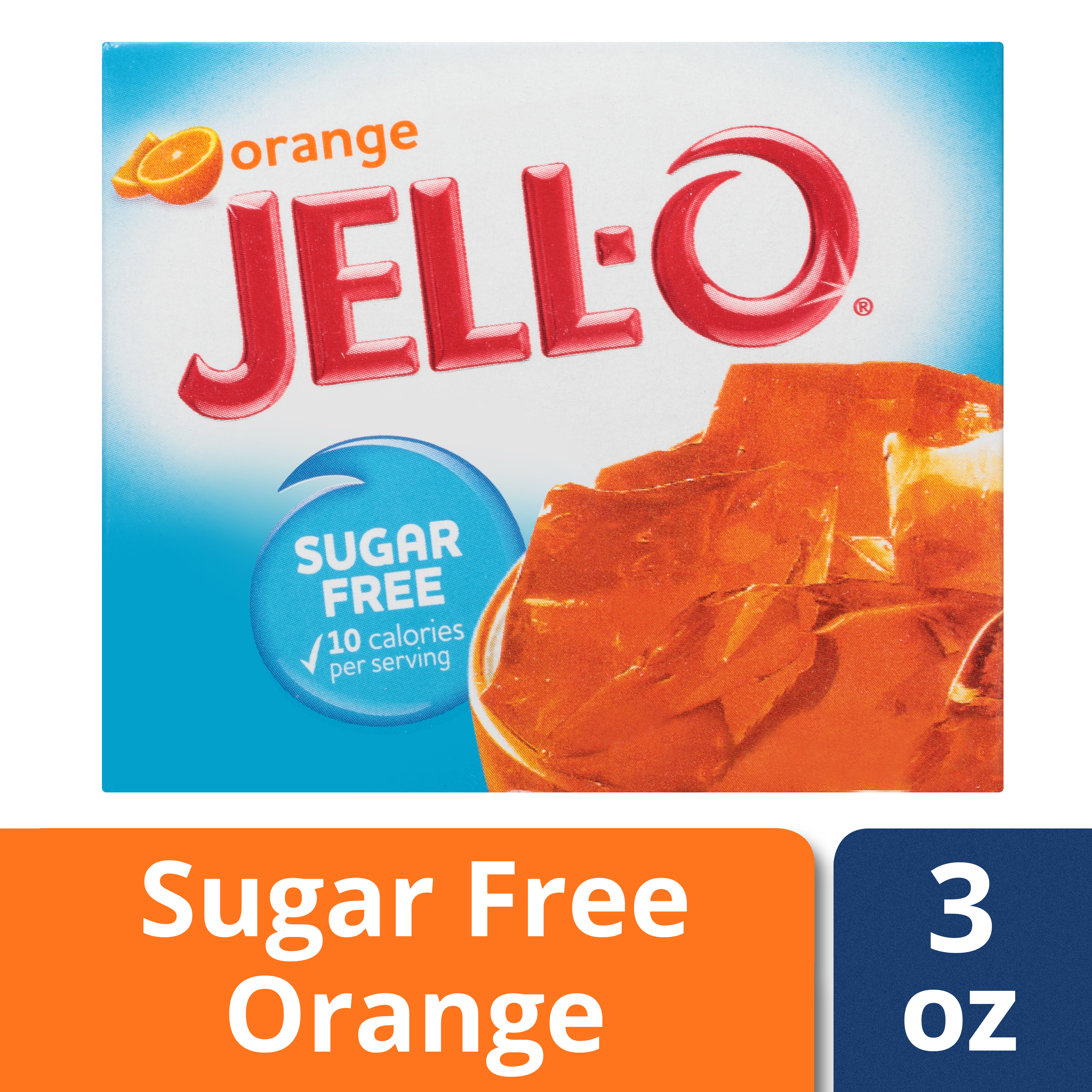 (3 Pack) Jell-O Orange Sugar-Free Gelatin, 0.3 oz Box