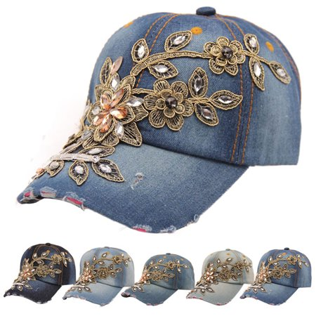 Jeans Hat (New Vogue Women Diamond Flower Baseball Cap Summer Style Lady Jeans Hats )