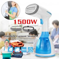 1500W 110-120V Fast-Heat Handheld Clothes Garment Steamer w/ 280ml Removable Water Tank Brushes Portable Handy Laundry Steam Iron Facial Steamer Humidifier for Home Office Travel
