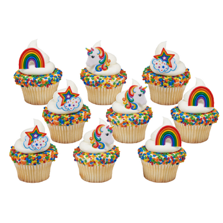 24pack Rainbow Unicorn Cupcake / Desert / Food Decoration Topper Rings with Favor Stickers & Sparkle Flakes - Tiara Cupcake Toppers