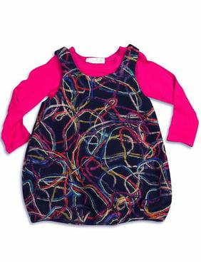 Baby Sara Infant Baby Girls Long Sleeve Dresses - Asst Fabrics Styles Colors, 29177 fuchsia multi / 18Months