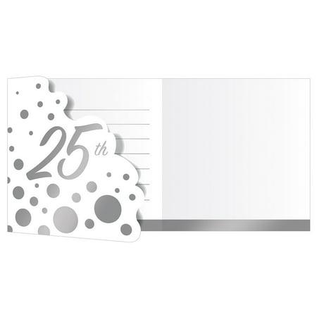 "Club Pack of 48 Shine Silver and White Sparkle 25th Anniversary Decorative Party Invitations 7.5"" (25th Anniversary Invitations)"