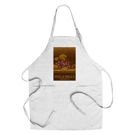 - Walla Walla, Washington - Red Grapes & Walnut - Oil Painting - Lantern Press Artwork (Cotton/Polyester Chef's Apron)