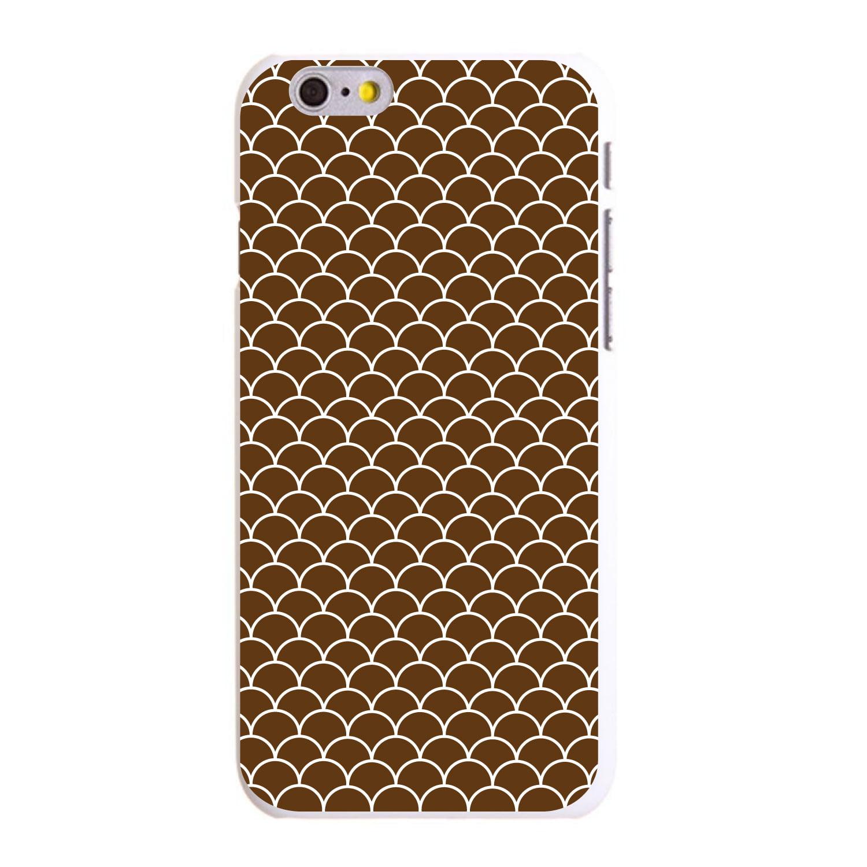 "CUSTOM White Hard Plastic Snap-On Case for Apple iPhone 6 / 6S (4.7"" Screen) - Brown White Scalloped Pattern"