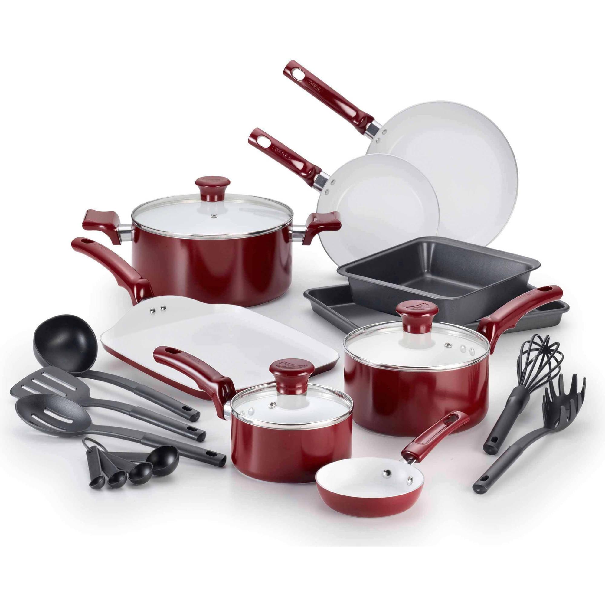 T-fal 18-Pc Ceramic Cookware Set - Walmart.com