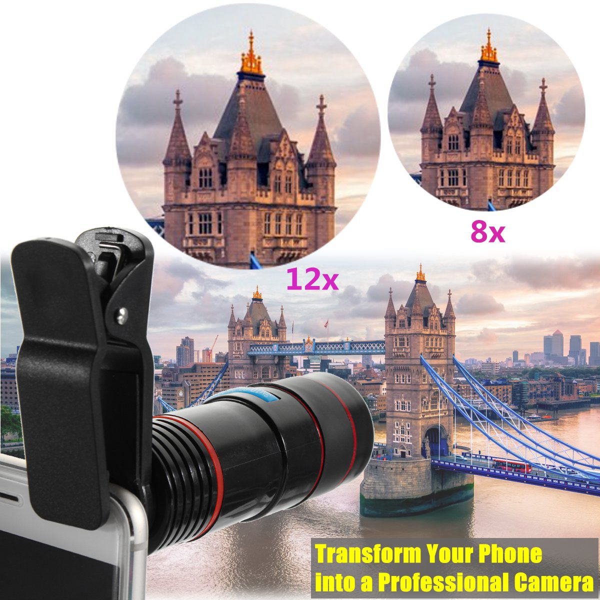 Universal Clip 12X HD Zoom Optical Mobile Phone Telescope Camera Lens for Cellphone Smartphone