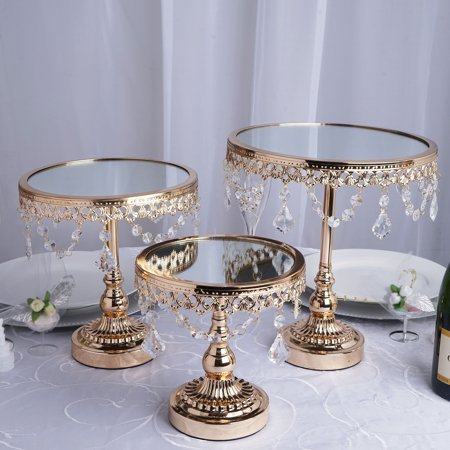 BalsaCircle Set of 3 Round Centerpieces Cake Risers Pedestals with Crystal Chains - Round Wood Centerpiece