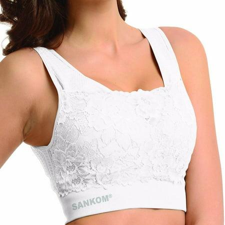 SANKOM White Support & Posture Lace Bra Classic-L/XL Lace Posture Bra