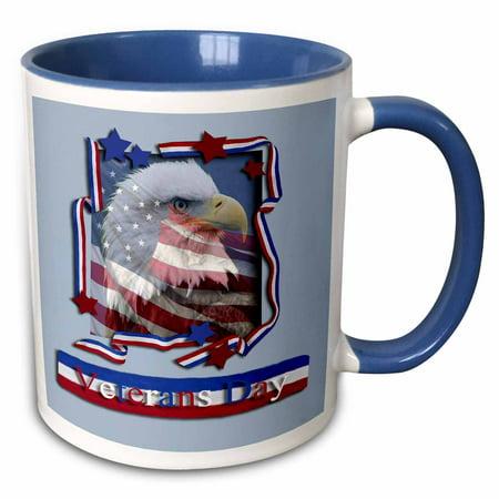 - 3dRose Veterans Day Patriotic Eagle - Two Tone Blue Mug, 11-ounce