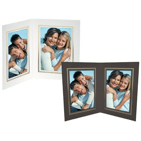 Double View Folder 4x6 Vertical Black w/Gold Foil Border (25 Pack) Gold Double Border