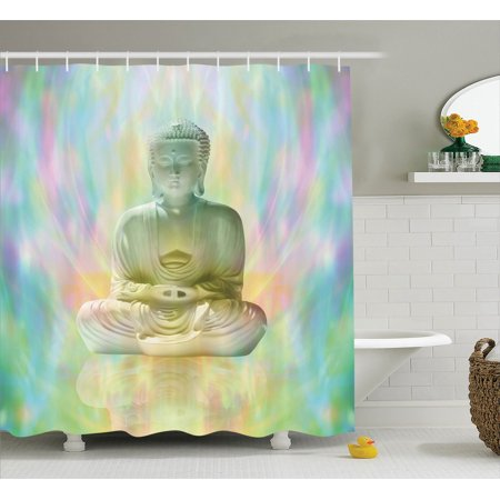 Buddha Decor Shower Curtain Set In Meditation On Colorful Blurred Background Indian Style Decorative