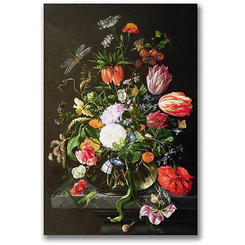 """Trademark Fine Art """"Still Life of Flowers"""" Canvas Wall Art by Jan Davidsz de Heem"""