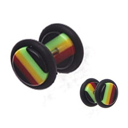BodyJ4You® Fake Plugs Rasta Flag Acrylic Gauges 16G Cheater Illusion Jewelry