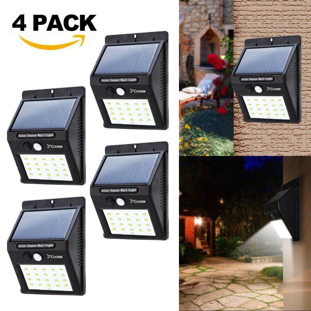 4 Pack 20 LED Outdoor Waterproof LED Solar Light Motion Sensor Wireless Solar Power Lamp Garden Wall Yard Deck Security Night Light (4 pcs)
