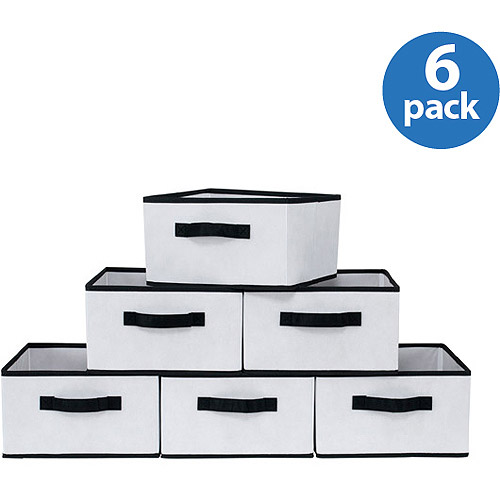 Mainstays Medium Collapsible Drawers, White with Black Trim, Set of 6