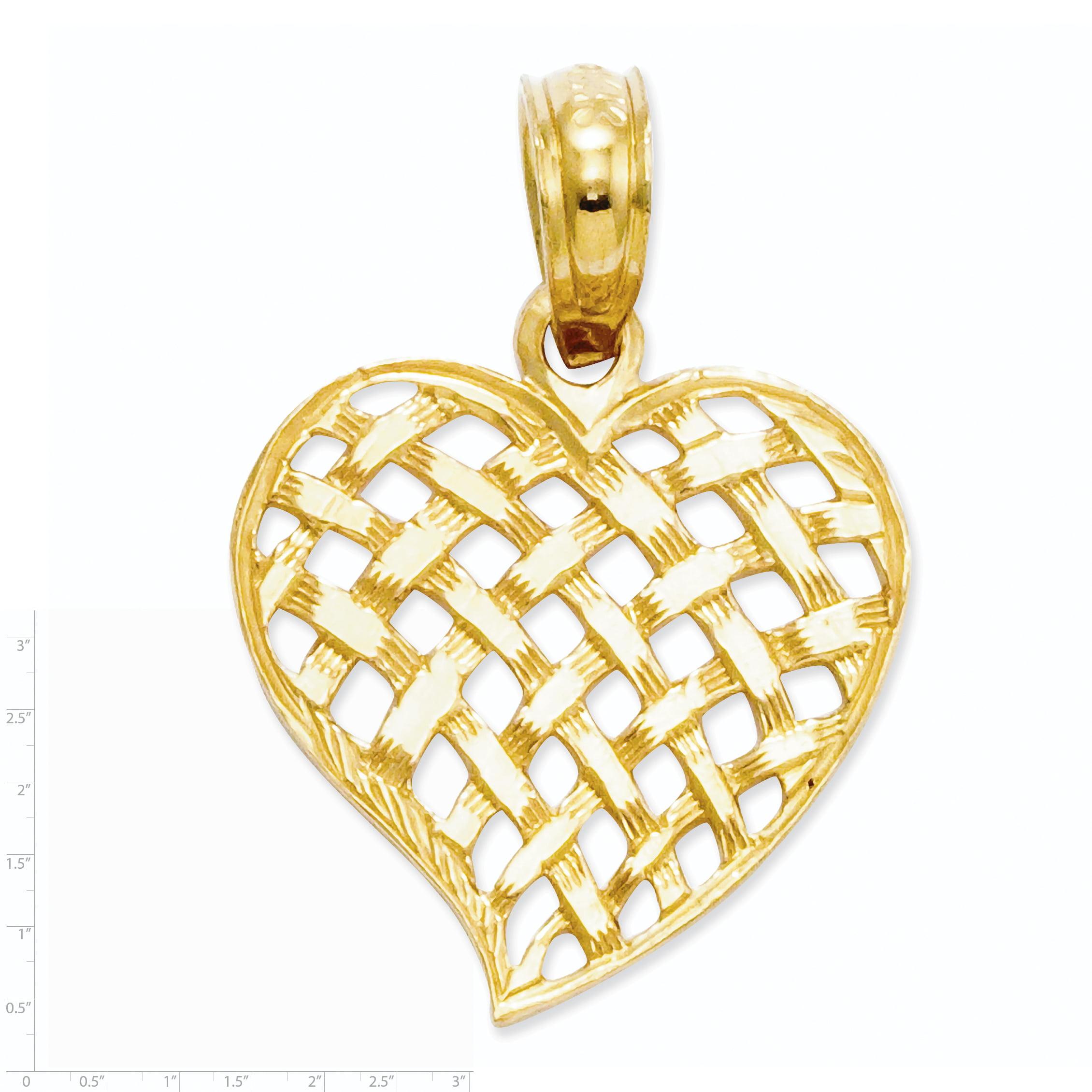 14K Yellow Gold Basket Weave Heart Pendant - image 1 de 2