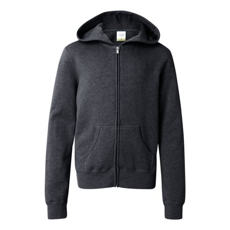 Juniors' Full-Zip Hooded Sweatshirt - Charcoal Heather - XS