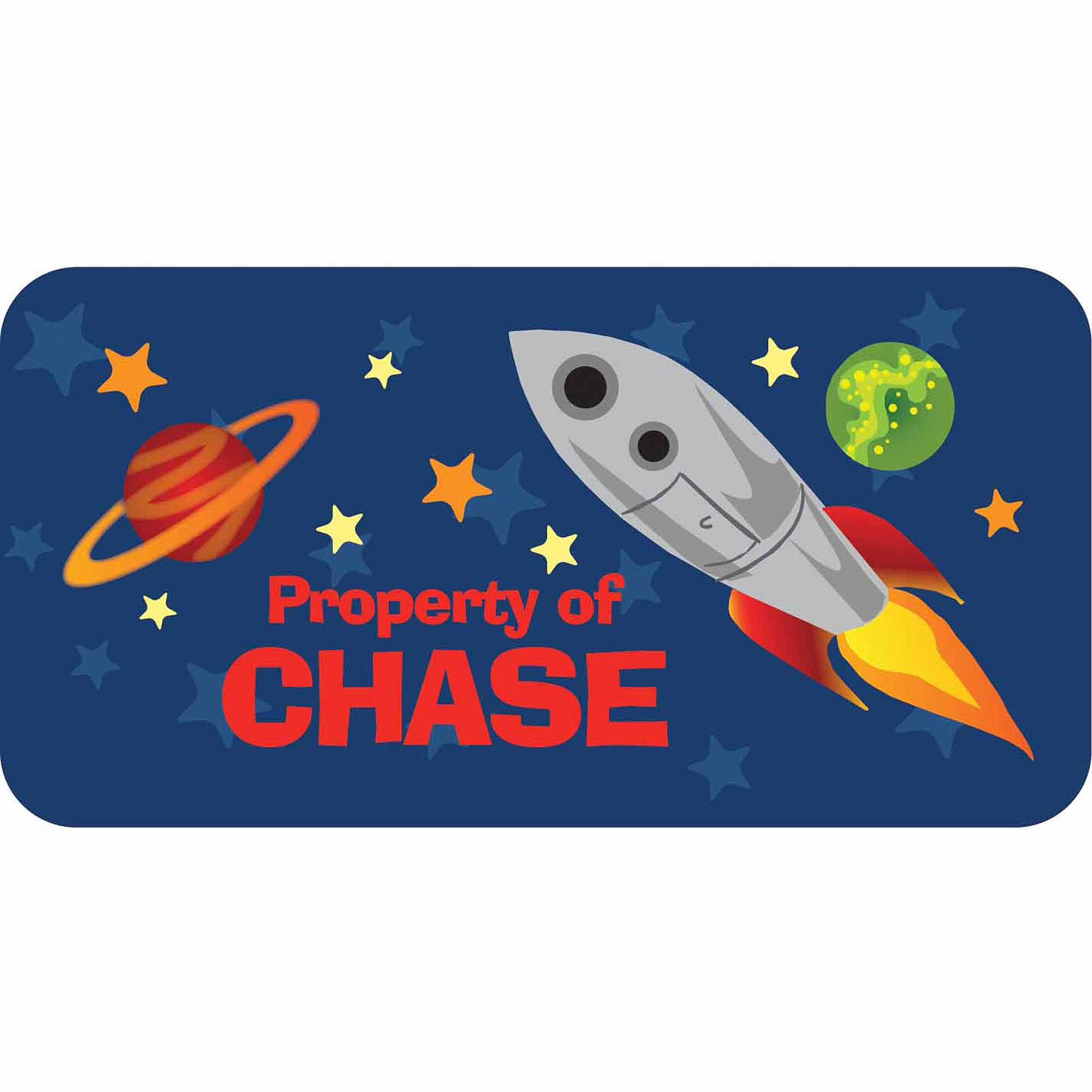 Personalized Kids Property Labels, Rocket