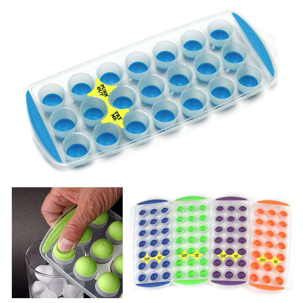 1 Push Out Ice Cube Tray Flexible Silicone Bottom Jello Chocolate Easy Pop Out !