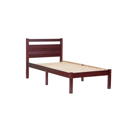 100% Solid Wood Bronx Twin Bed-in-a-Box 2632 by Palace Imports, Mahogany Color